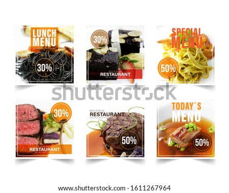 Design banner restaurant for social networks, Template for advertising	 #1611267964