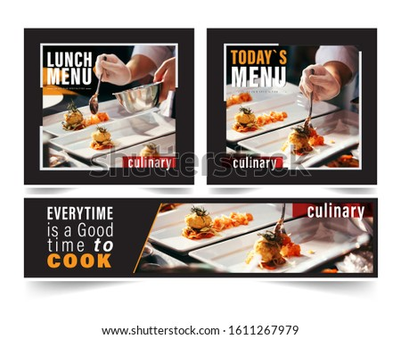 Design banner restaurant for social networks, Template for advertising	 #1611267979
