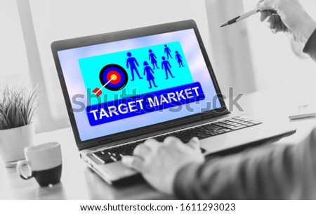 Laptop screen displaying a target market concept #1611293023