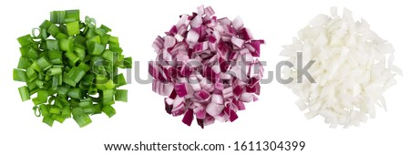 Heap of diced red, green, white onion. A set of three types. Isolate on a white background, top view. Royalty-Free Stock Photo #1611304399
