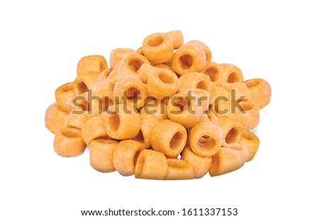 Fried and Spicy Tasty yellow salted pipe, Masala Cherry Ball Sncaks, Most famous and delicious wheat flour snack Children love them very much Snacks or Fryums (Snacks Pellets) served in a white bowl. #1611337153