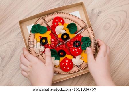 Felt pizza. Felt food toys for the kids #1611384769