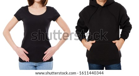 Girl in black t-shirt mock up, man in black hoodie mockuup isolation on white background #1611440344
