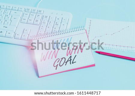 Text sign showing Win Win Win Goal. Conceptual photo Approach that aims to satisfy all parties involved Paper blue desk computer keyboard office study notebook chart numbers memo. #1611448717