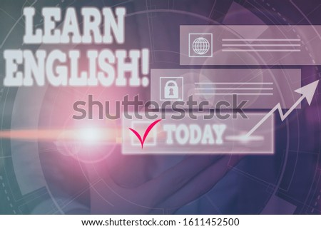Handwriting text writing Learn English. Concept meaning gain acquire knowledge in new language by study Picture photo system network scheme modern technology smart device.