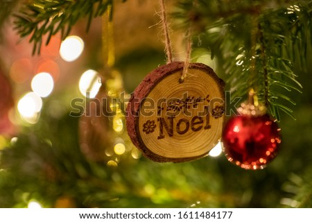 Wooden Christmas Tree Decoration with Noel written on hanging #1611484177