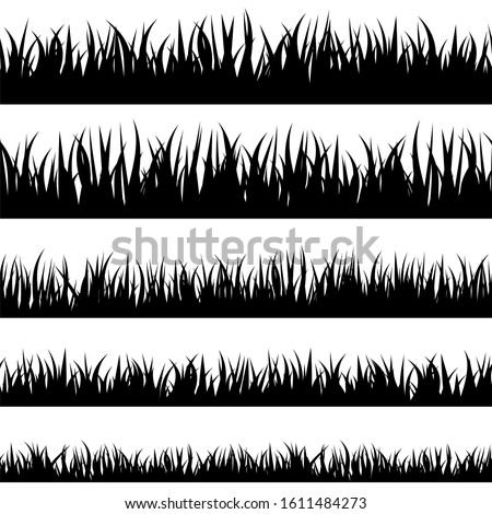 Grass stencil. Isolated greenery silhouettes. Grassland banners for overlay design