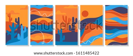 Set of vertical abstract backgrounds or card templates in modern colors, vector illustration in popular art style #1611485422