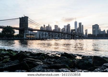 New York City Skyline View From Brooklyn Bridge Park In Dumbo.