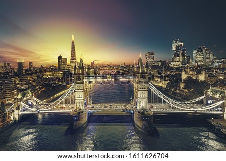 Sunset in London. Business modern district view