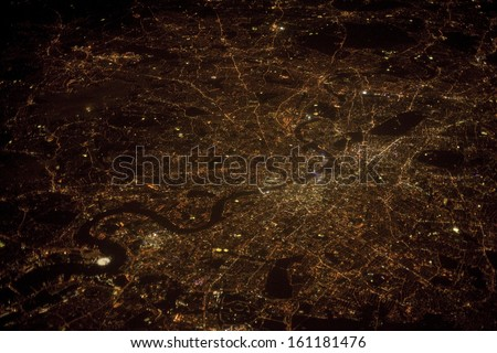 London at night time, aerial photograph taken at 38000 feet altitude on 19th September 2013