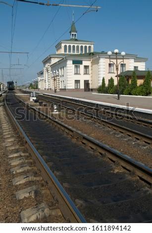 Kovel railway station. Railways in foreground. #1611894142