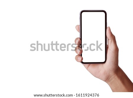 Hand holding Smartphone pro with white screen and modern design - isolated the black on white background for your web site design, logo, app  - include clipping path.
