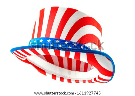 Patriotic holiday and celebrating independence day 4th of july concept with uncle sam hat with stars and stripes isolated on white background with clipping path cutout using ghost mannequin technique #1611927745
