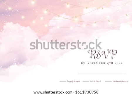 Sugar cotton pink clouds vector design background. Glamour fairytale backdrop. Plane sky view with stars and lamps. Watercolor style texture. Delicate card. Elegant decoration. Fantasy pastel color #1611930958