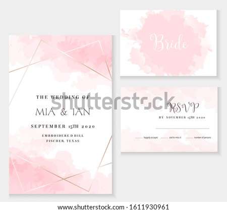 Stylish dusty pink and gold geometric vector design cards. Set of golden line art cards. Spring wedding invitation. Sugar cotton texture. Watercolor splash style.All elements are isolated and editable #1611930961