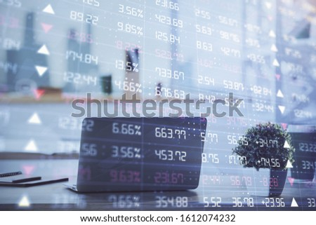Stock market graph on background with desk and personal computer. Double exposure. Concept of financial analysis. #1612074232