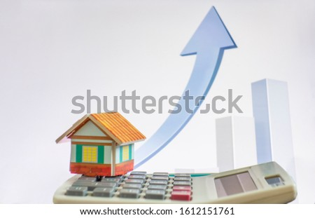 House on white background and up arrow icon #1612151761