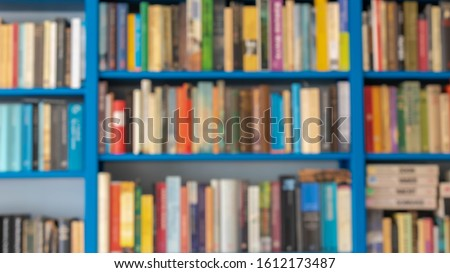 Education concept, Abstract blurred bookshelf, Blur bookshelves backdrop, Out of focus picture of bookshelf texture background. #1612173487
