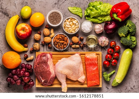 A set of products for paleo, pegan and a whole 30 diets, top view. #1612178851