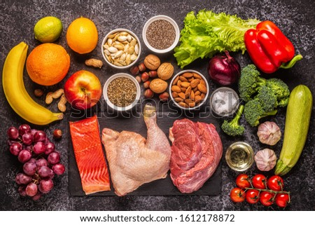 A set of products for paleo, pegan and a whole 30 diets, top view. #1612178872