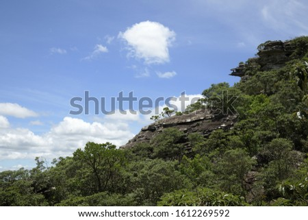 Stone Hill and Blue Sky with White Clouds in Brazil #1612269592