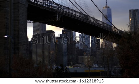 Brooklyn Bridge view from Dumbo New York City. WTC 1 in the background and other sky scrapers. Skyline of New York 2018
