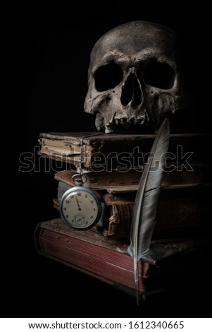 Vanitas Still life comprised of skull, watch, books and feather #1612340665