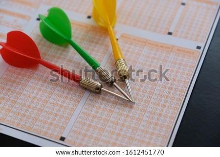 optical exam paper and dart, achieving the goal, achieving success, #1612451770
