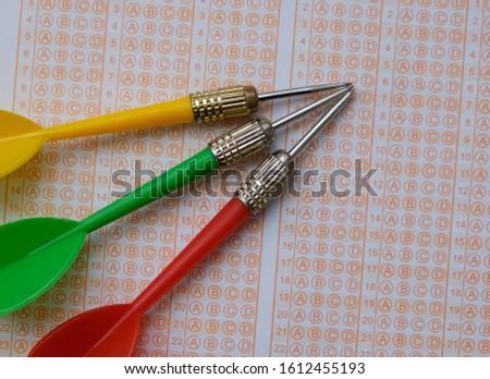 optical exam paper and dart, achieving the goal, achieving success, #1612455193