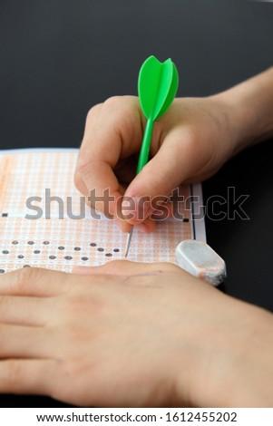 optical exam paper and dart, achieving the goal, achieving success, #1612455202