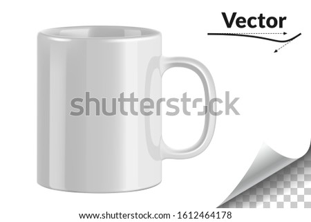 White ceramic mug. Cup on transparent background. Vector illustration. Realistic style. 3D style.  #1612464178