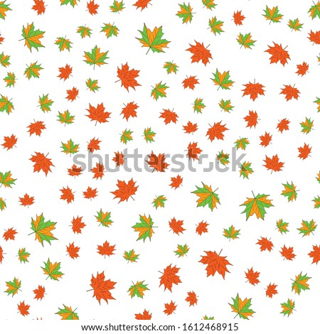 maple leafs seamless background. White background Royalty-Free Stock Photo #1612468915