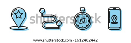 Set line Compass, Map pointer with star, Route location and Infographic of city map navigation icon. Vector #1612482442