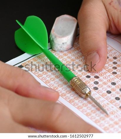 optical exam paper and dart, achieving the goal, achieving success, #1612502977