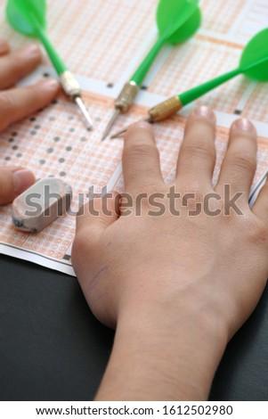 optical exam paper and dart, achieving the goal, achieving success, #1612502980