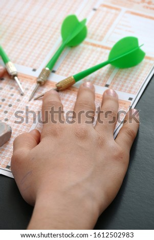 optical exam paper and dart, achieving the goal, achieving success, #1612502983