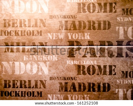 Retro seamless with city names New York, London, Paris and Rome