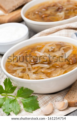 traditional Russian cabbage soup (shchi) with mushrooms and garlic, vertical #161254754