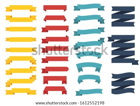 Mini popular set of different color ribbons on white background. Four pillars. Vector Illustration. #1612552198