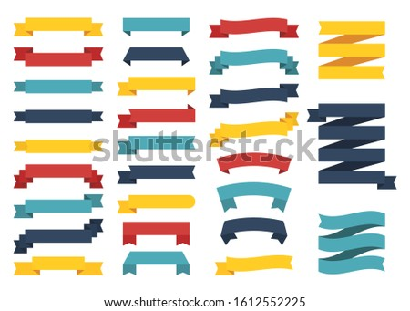 Mini popular set of different color ribbons on white background. Four pillars with random style and colors. Vector Illustration. #1612552225