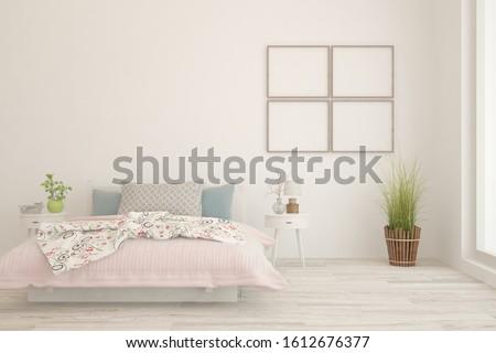Stylish bedroom in white color. Scandinavian interior design. 3D illustration #1612676377