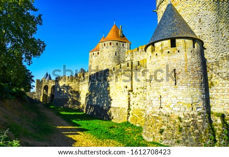 Medieval castle towers wall. Castle wall tower view. Medieval castle wall scene. Castle walls towers #1612708423