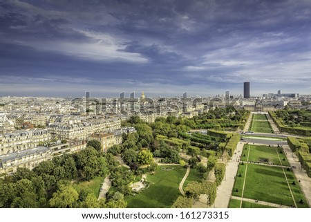 Aerial View on Champ de Mars and Invalides from the Eiffel Tower, Paris, France   #161273315