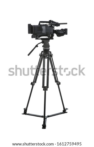 Modern professional video camera isolated on white Royalty-Free Stock Photo #1612759495