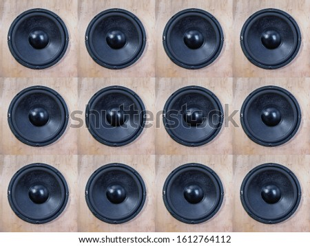 old woofer speakers background, sound concept rustic and retro design #1612764112