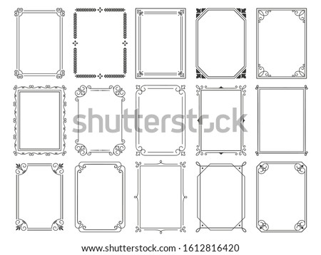 Vintage calligraphic frames. Ornate calligraph frame, retro elegant ornamental borders and filigree floral ornaments for framed certificate template. Isolated  illustration signs set #1612816420
