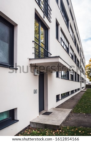 Stuttgart, Germany, October 15, 2019: Weissenhof Siedlung a.k.a. Weissenhof Estate Main Building by Mies van der Rohe. Modernist International Style Residence Building buildt in 1927. #1612854166