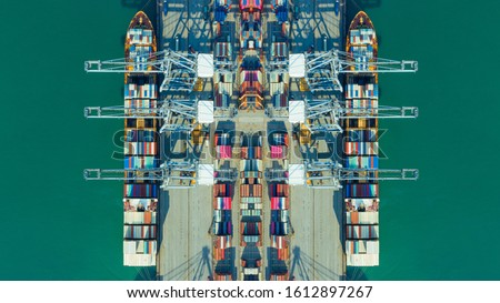 Container ships loading and unloading in Hutchison Ports, Business logistic import-export transport international and transportation of containers in port, Shipping container buildings, Aerial view #1612897267