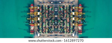 Container ships loading and unloading in Hutchison Ports, Business logistic import-export transport international and transportation of containers in port, Shipping container buildings, Aerial view #1612897270